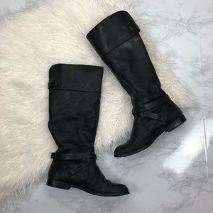 Calvin Klein Black Hayden Leather Riding Boots